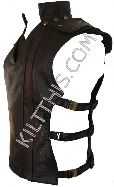 Simple Baddie Black Leather Vest and Priest Collar Hiker Design