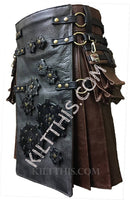 Simple Worn Brown Leather Kilt Grey Leather Front Panel Black Foam Gears