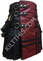 Simple Black Kilt Red Front Panel Black Leather Double Cross Kilt Design with Leather Straps