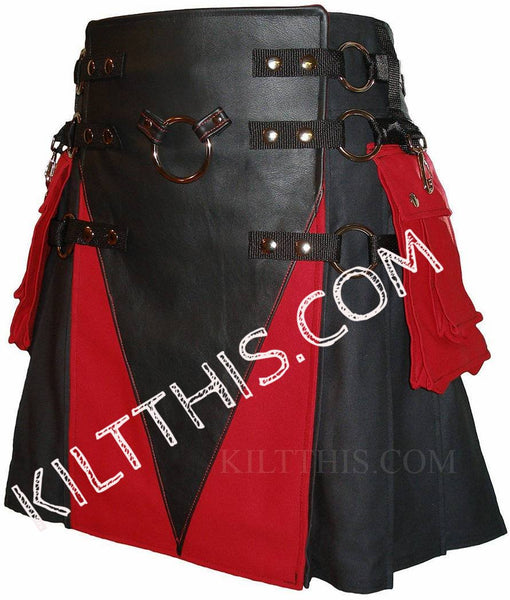 Simple Black Canvas Cargo Kilt Red Pockets Black Leather V Design Metal Ring