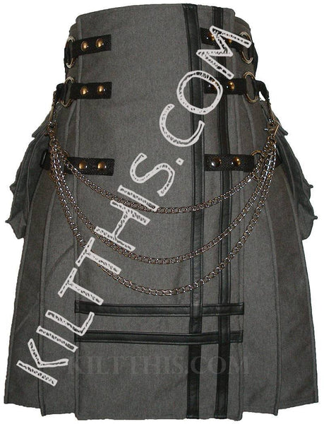 Simple Grey Fleece Kilt Black Leather Double Cross and Kilt Chains
