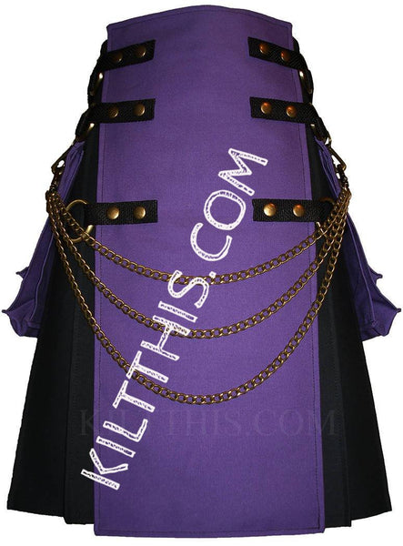 Simple Interchangeable Black and Purple Canvas Kilt plus Kilt Chains
