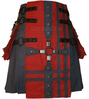Navy Blue Canvas Kilt, Burgundy Front Panel, Blue Medieval Cross, Blue Double Cross Design on Front Panel and Pockets