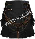 Simple Black Utility Kilt with Additional Brown Y Design Leather Double Cross with Kilt Chains