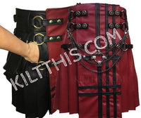 Simple Red Leather Utility Kilt Red Leather Front Panel Black Leather Cross Leather Double Cross Spiral Gear Conchos plus Kilt Chains