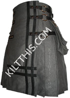 Simple Grey Fleece Leather Double Cross Cargo Utility Kilt