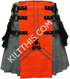 Simple Grey Canvas Utility Kilt Orange Front Panel Y Design, Black Cargo Pockets