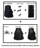 Simple Black Kilt Stewart Tartan plus Leather Flash Pleats Leather Straps and Fleur De Lis Conchos