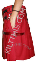Simple Red Kilts Black Leather Double Cross Design
