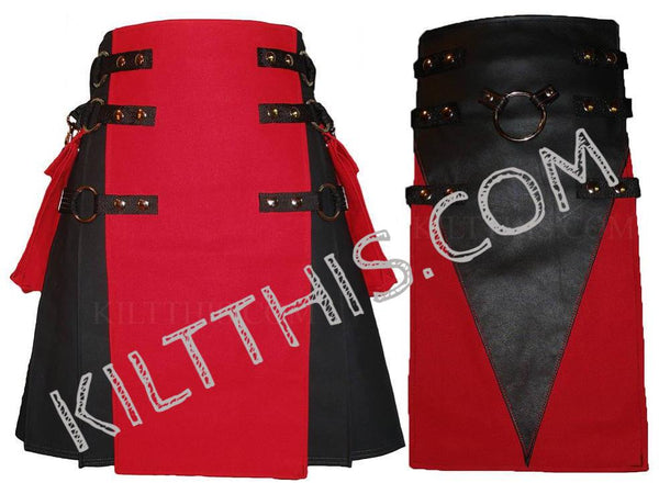 Simple One Black Kilt plus Additional Red Black Leather V Design Metal Ring Set