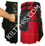 Simple Red Kilt Red and Black Cross Leather Straps plus Kilt Chains