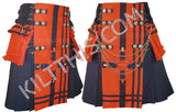 Simple Navy Blue Orange Kilt Navy Blue Straps Cross Design Conchos plus Kilt Chains