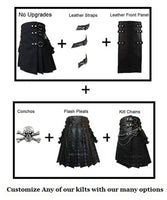 Simple Long Black Gothic Utility Kilt Antique Brass Metal Rings and Chains