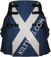 Simple Saint Andrew's Flag Kilt with Kilt Chains
