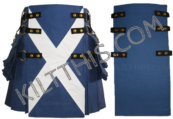 Simple Saint Andrew's Kilt plus Additional Front Panel Antique Brass Interchangeable Set