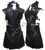 Simple Merman Scale on Leather Utility Kilt Leather Vest Mermaid Scale Leather Collar Suit with Kilt Chains