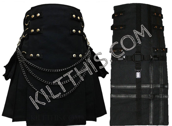 Simple Black Kilt Interchangeable with Black Cross Design Panel and Kilt Chains