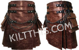 Simple Worn Brown Leather Kilt with Kilt Chains