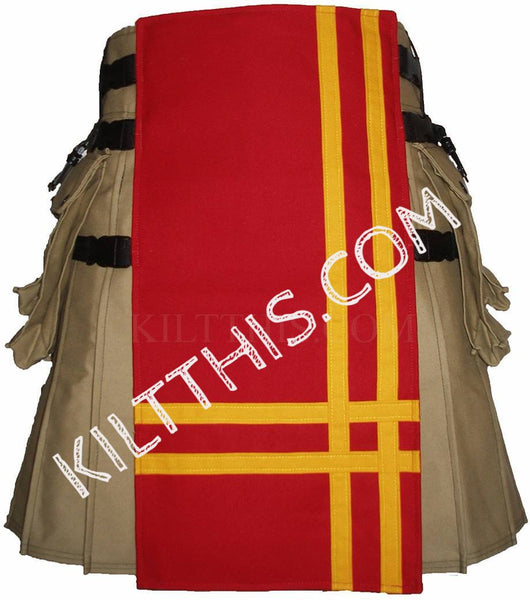 Simple Khaki and Red Canvas Hiker Kilt Yellow Double Cross Design Adjustable Interchangeable