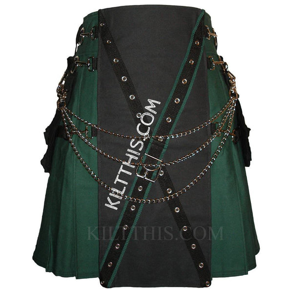 Simple Green Metal Latch Kilt Black X Design with Buckle and Kilt Chains