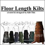 Interchangeable Army Green Soft Cotton Gothic Floor Length Utility Kilt
