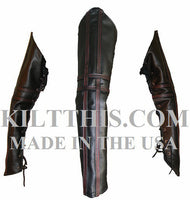 Black Leather Sleeves Set Leather Stripes