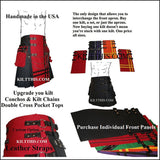Red Leather Kilt Custom Fit Adjustable Interchangeable Made in USA