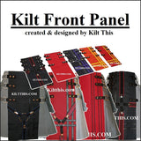 Interchangeable Utility Kilt Front Panel Black with Green X Metal Latch Design