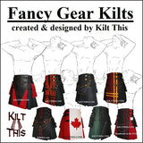 Utility Kilt Front Panel Black Cross Design Snap Kilt Design
