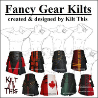 Interchangeable Utility Kilt Front Panel Black with Gray n Black Cross
