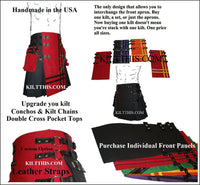 Customize Red Cargo Utility Kilts Black Leather Double Cross Adjustable