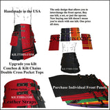 Black Red Canvas Cargo Utility Kilt Leather Double Cross Design Interchangeable