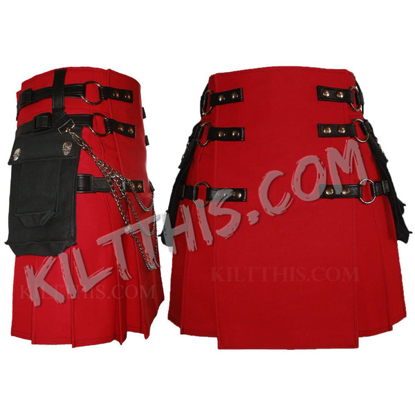 Simple Red Canvas Cargo Utility Kilt Conchos Leather Straps Adjustable Interchangeable