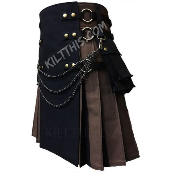 Simple Brown Black Utility Kilt with Flash Pleats