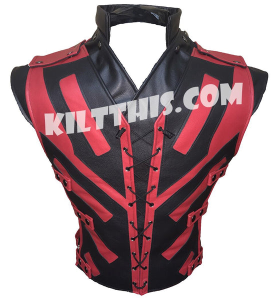 Simple Star Wars x Deadpool Inspired Lace Up Leather Vest Custom Design and Priest Collar Set