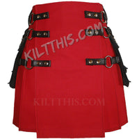 Customize Red Canvas Cargo Utility Kilt Interchangeable