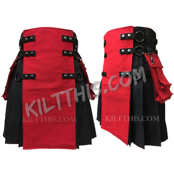 Black Red Cargo Utility Kilt Adjustable Interchangeable