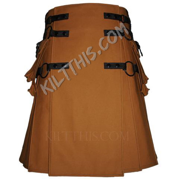 Nutmeg Canvas Cargo Utility Kilt Adjustable Interchangeable