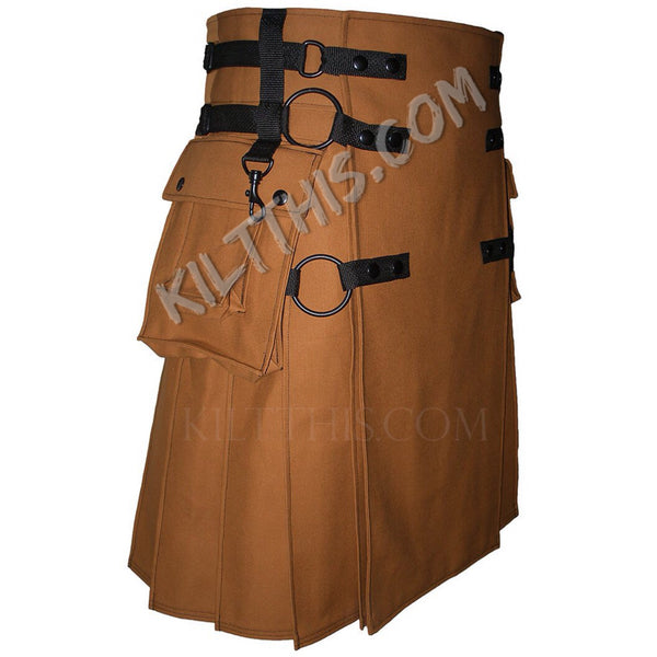 Simple Nutmeg Canvas Cargo Utility Kilt Interchangeable