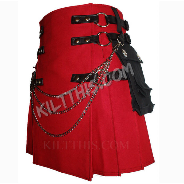 Simple Red Canvas Cargo Utility Kilt Conchos Leather Straps Interchangeable
