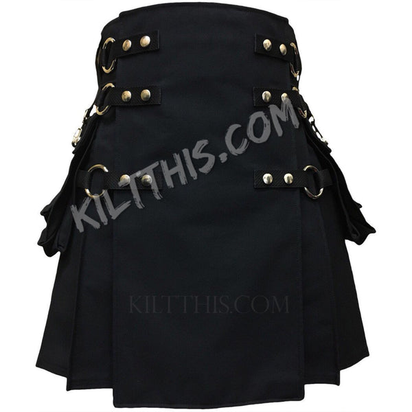 Customize Interchangeable Snap Kilt Canvas Cargo Utility Kilt