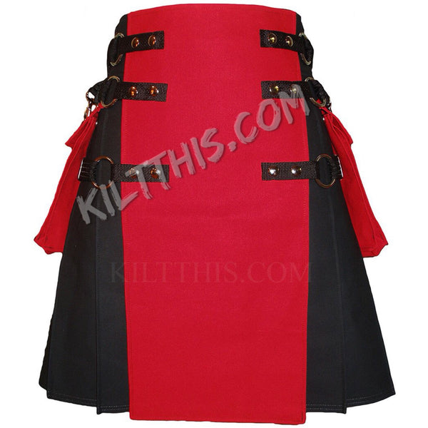 Simple Black Red Canvas Cargo Utility Kilt Adjustable Interchangeable