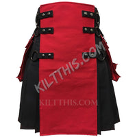 Customize Black Red Canvas Cargo Utility Kilt Interchangeable