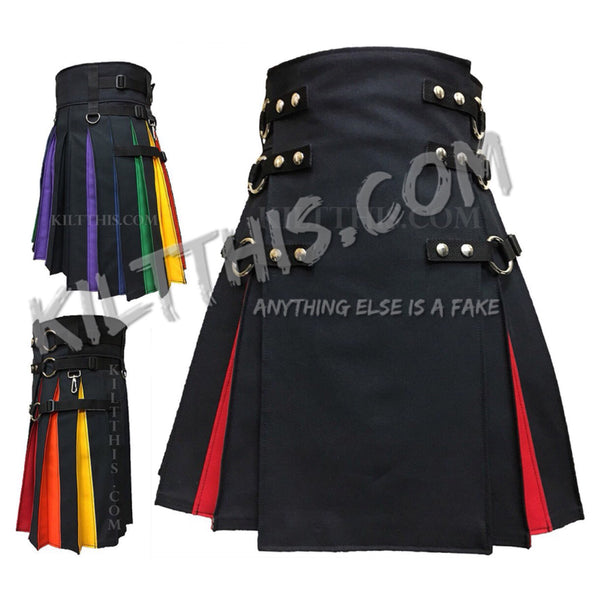 Simple Diversity Pride Rainbow Canvas Cargo Kilt Flash Pleats Inside Pockets
