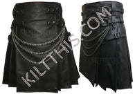 Interchangeable Black Leather Kilt