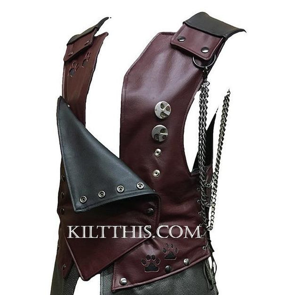 Interchangeable Leather Vest Breast Plate Design Paws Design