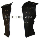 Interchangeable Black Leather Vest Chest Plate Lined Custom Fit Adjustable