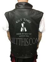 Simple Leather Vest with Removable Panels and Kilt This Logo Zipper Closure with Liner