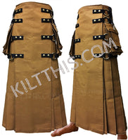 Simple Utility Kilt Long Floor Length Wrap Nutmeg Kilt