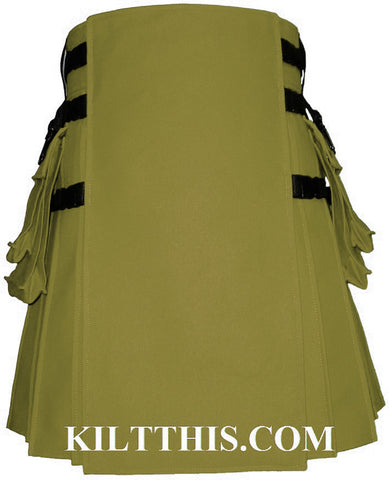 Interchangeable Olive 10oz Canvas Hiker Utility Kilt Design